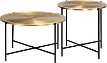 vidaXL Juego de mesas con cubierta de latón MDF 2 unidades