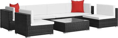 vidaXL Set muebles de jardín 7 piezas y cojines ratán sintético negro