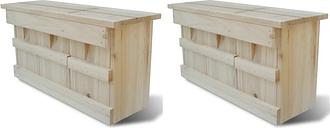 vidaXL Sparrow Houses 2 pcs Wood 44x15.5x21.5 cm