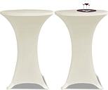 vidaXL Obrus na stół barowy Ø 60 cm kremowy rozciągany 2 szt