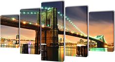 vidaXL Set decorativo de lienzos para pared puente de Brooklyn 200x100 cm