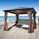 vidaXL Cenador con cortina marrón aluminio 300 x 300 cm