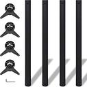vidaXL Set 4 gambe nere per tavolo regolabili in altezza 870 mm