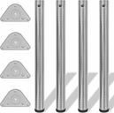 vidaXL 4 Patas de Mesa Regulables en Altura 710 mm (Color Níquel Pulido)