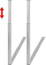 vidaXL Gambe Telescopiche Tavolo 2 pz Nichel Spazzolato 710 mm-1100 mm