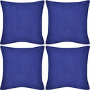 vidaXL 4 fundas azules para cojines de algodón, 80 x 80 cm