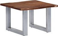 vidaXL Mesa de centro borde natural madera maciza acacia 60x60x40 cm
