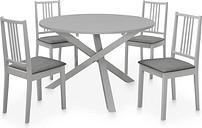 vidaXL Juego de muebles de comedor 5 piezas MDF gris