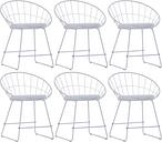 vidaXL Krzesła z siedziskami ze sztucznej skóry, 6 szt., białe, stal
