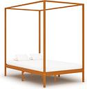 vidaXL Canopy Bed Frame Honey Brown Solid Pine Wood 120x200 cm