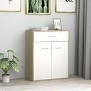 vidaXL Sideboard White and Sonoma Oak 60x30x75 cm Chipboard
