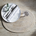 Whitewashed Oval Rattan Placemat