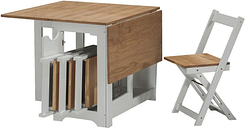 Seconique Santos Butterfly Folding Dining Set in Grey & Pine with 4 Dining Chairs