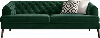 Chesterfield Sofa in Green Velvet - 3 Seater - Inez