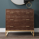 Aubrey Walnut 3 Drawer Chest of Drawers with Gold Legs