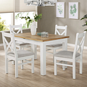 White & Oak Extendable Dining Set with 4 White Dining Chairs - Aylesbury