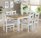 White & Oak Extendable Dining Set with 6 White Dining Chairs - Aylesbury