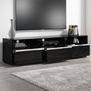 Large Black Gloss TV Unit with Storage Drawers- TVs up to 80 - Evoque