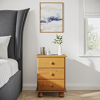 Hamilton 3 Drawer Bedside Table in Pine