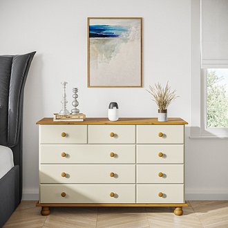 Hamilton 2+3+4 Wide Chest of Drawers in Cream and Pine