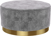 Large Round Silver Grey Quilted Velvet Pouffe - Harley