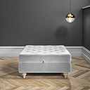 Large Quilted Button Ottoman Pouffe in Silver Grey Velvet - Inez
