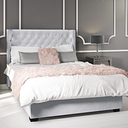 Milania Double Ottoman Bed in Silver Grey Velvet with Curved Headboard
