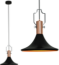 Matte Black Industrial Pendant Light with Copper Inlay - Jefferson