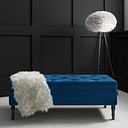 Safina Ottoman Storage Bench in Navy Blue Velvet with Button Detail