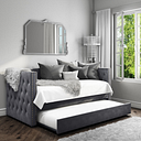 Sacha Velvet Day Bed in Anthracite Grey - Trundle Bed Included