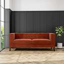 Orange Velvet Sofa with Squared Arms & Button Back - Seats 3 - Bailey