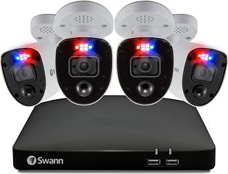 Swann CCTV System - 8 Channel 4K DVR wtih 4 x 4K Enforcer Spotlight Cameras & 2TB HDD