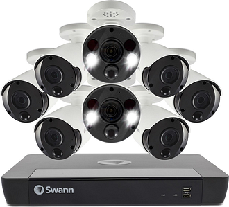 Swann CCTV System - 16 Channel 4K Ultra HD NVR with 6 x 4K Thermal Sensing Spotlight Cameras & 2 Spotlight Cameras - 2TB
