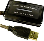 Active USB Cable with 4 Port USB Hub 12m