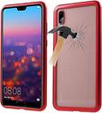 Coque Magnétique Huawei P20 Pro avec Dos en Verre Trempé - Rouge