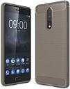 Custodia in TPU Spazzolata per Nokia 8 - Fibra di Carbonio - Grigia