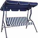 Charles Bentley Striped Garden Swing Seat, Blue