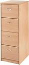 Momento Deluxe 4 Drawer Filing Cabinet, Beech