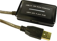 USB Active Extension Cable with 4 Port USB Hub 12m